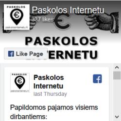 Paskolos internetu facebook